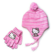Hello Kitty Pink Marbled Ear flap Hat and Gloves Set New with Tags 2015