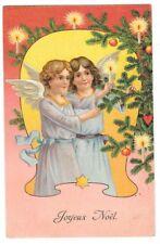 FANTAISIE NOEL carte postale ancienne gaufrée deux Anges Joyeux Noel sapin