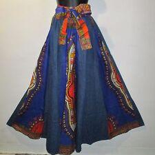Jean Skirt Fit M L XL 1X 2X Plus Denim Cotton African Wax Print Ankara Long NWT