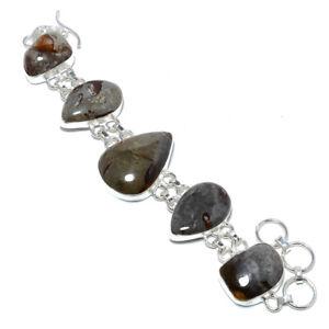 """Calcite Gemstone 925 Sterling Silver Link Bracelet 7.99"""" B1276-94"""