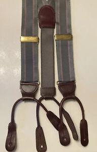 Men's Suspenders Braces Button On Gray & Pink Striped Ribbon Straps Brown Lthr.