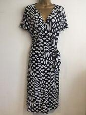 Ladies Dress Size 14 Black White BASLER Wrap Dress Short Sleeve Spotted Stunning