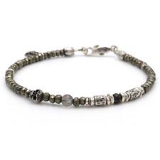 💛🖤 Stunning Tateossian London Style Pyrite And Sterling Mens Bracelet 💛🖤
