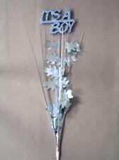 3 Pcs It's a Boy Royal Blue Bears Onion Grass Spray Metallic Pick 24 inches long