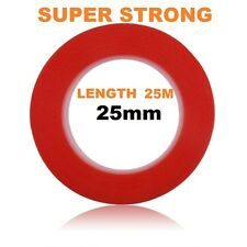 25mm Red Double Sided Adhesive Sticky Tape Easy Lift Super Strong Length 25M