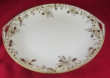 NIPPON HANDPAINTED GOLD RIMMED SERVING BOWL WITH HANDLES