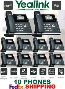 YEALINK SIP-T42S ULTRA ELEGANT GIGABIT IP VOIP PHONE SYSTEM-12-LINES - 10 PHONES