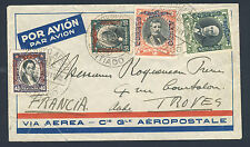 CHILE to FRANCE 1929 Air Mail Cover SANTIAGO to TROYES 82nd. AMFRA GUILLAUMET
