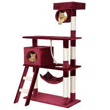 [en.casa]® Rascador para gatos rojo, árbol de escalada, para arañar, de sisal XL