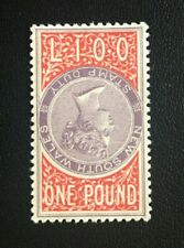 1885 NEW SOUTH WALES COPY 1 POUND INVERTED QV SIDEFACE REVENUE DUTY STAMP MNG