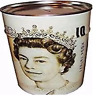 Large Coins and  Money Saving Tin Piggy Bank White Sealed Royal Queen Saving Box