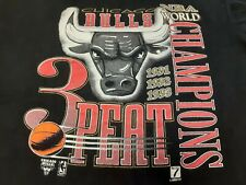 VTG 90s 1993 Chicago Bulls 3 Peat NBA World Champions Champs T Shirt BLK X-Large