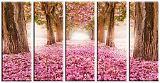 5 Piece Nature Tree Pink Flower Canvas Wall Art Picture Print Home Decor
