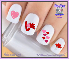 "24 Nail Decals #7608 VALENTINES ""LOVE Mini Hearts"" WaterSlide Nail Art Transfers"
