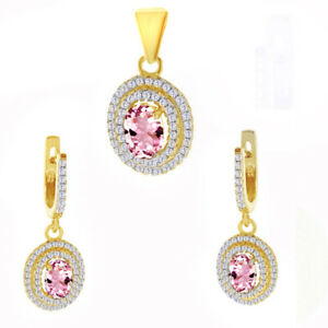 Womens Day 4.18 Ct Tourmaline 18K Yellow Gold Over Pendant Earrings Set