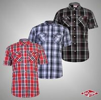 Mens Lee Cooper Chest Pockets Short Sleeve Checked Cotton Shirt Top Sizes S-XXXL