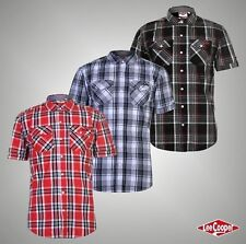 Mens Lee Cooper Chest Pockets Short Sleeve Checked Cotton Shirt Top Size S-XXXL