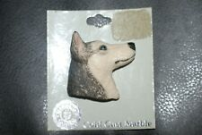 Vintage 1980's Cold Cast Marble Hand Painted Dog Pin Broach - Siberian Husky