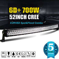 6D+ Curved 52inch 700W CREE LED Light Bar Flood Spot Combo Work Offroad Driving