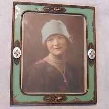 "Antique Gilt Guilloche Enamel Picture Frame w/1920s Period Photo 12""X10"" Bronze"