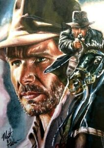 Indiana Jones Sketch Card MICK MATT GLEBE ACEO ABSOLUTLY AN AMAZING SKETCH!!!