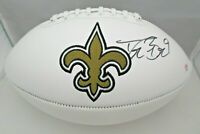 DREW BREES / NEW ORLEANS SAINTS / AUTOGRAPHED SAINTS LOGO WHITE FOOTBALL / COA