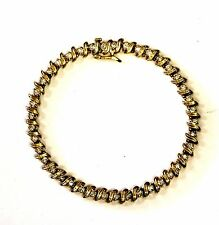 "14k yellow gold 2ct S diamond tennis bracelet 17g vintage estate antique 7 3/4"""