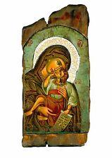 Handmade Wooden Greek Orthodox Icon Painting Canvas Virgin Mary Jesus Christ M57