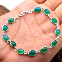 "Green Onyx GEMSTONE Bracelet Solid 925 Sterling Silver Handmade Jewelry 9"""