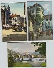 9 1910 era Hotels, Rathaus, Walter-Plats, Obstmarkt Bozen Switzerland Postcards
