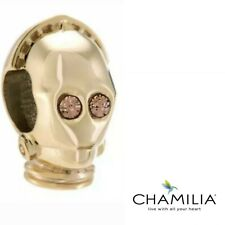 Genuine Chamilia 925 Star Wars gold plated C3PO droid bracelet charm with sleeve
