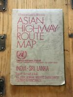 Original Vintage 1980s United Nations Route Map India-Sri Lanka, Vintage Travel