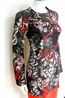 New Cédric Charlier Pre Fall 2016 black red print dress It 38 Uk 6