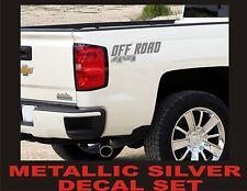 4x4 Truck Bed Decals, SILVER METALLIC (Set) for Chevrolet Silverado