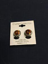 Swarovski Crystal amber clip earrings