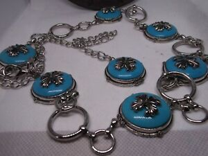 NEW SOUTHWEST SILVER TURQUOISE LINK CONCHO BELT WESTERN NATIVE AMERICAN LADIES