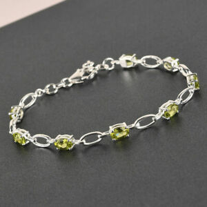 TJC Peridot Link Bracelet in 925 Sterling Silver Gift for Wife 7 '' 3.6ct