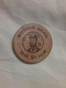 1962 The National Bank of Eaton Rapids, MI 5 cent wooden nickel token
