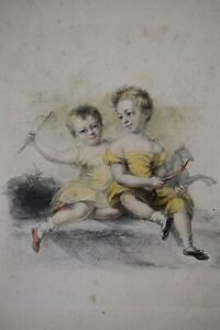 Two Children Playing with an Equine Toy Graphite/Pastel Samuel Lane c1820