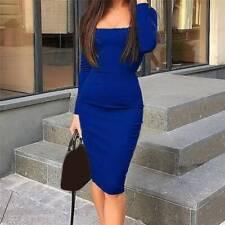 Women Ladies Long Sleeve Sexy Evening Party Clubwear Mini Pencil Dress KS