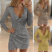 Women Sequin Deep V Neck Wrap Mini Dress Bodycon Evening Party Club Formal Dress