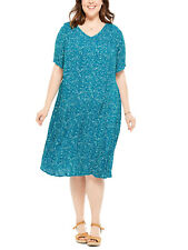 Woman Within ladies dress plus size 14 24 26 32 teal crinkle short sleeves vneck