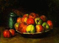 Fine Oil painting Still Life with Apples and a Pomegranate on plate canvas