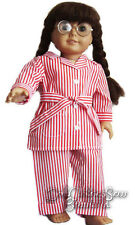 """WW2 Style Red White Striped Pajamas made for Molly 18"""" Doll Clothes"""