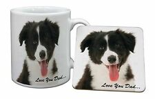 Border Collie Pup 'Love You Dad' Mug+Coaster Christmas/Birthday Gift I, DAD-17MC