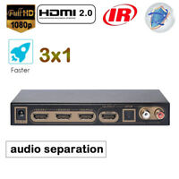 hdmi arc audio extractor ARC 1080P 4K/2K/60Hz 3x1 Splitter 3 In 1 Out separation