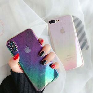 Girls Colorful Gradient Rainbow Soft Phone Case Cover For iPhone 6 6s 7 8 Plus X