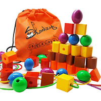JUMBO Primary Lacing Toys For Toddlers Autism Fine Motor Skills Montessori Toy