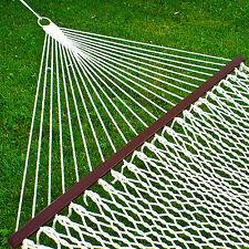 """Hammock 59"""" Cotton Double Wide Solid Wood Spreader Outdoor Patio Yard Hammock"""