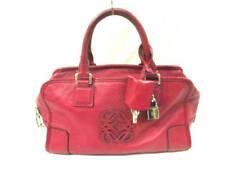 Auth LOEWE Amazona Red Leather Handbag
